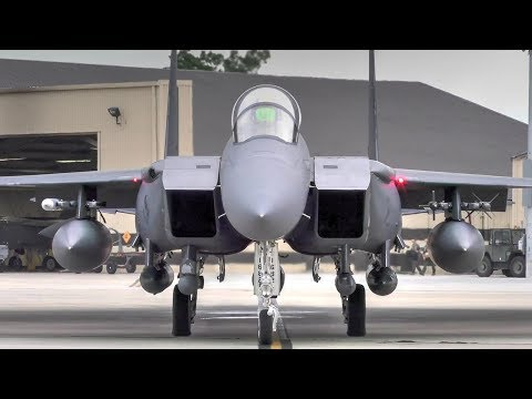 F-15E Strike Eagle Afterburner Takeoffs At Seymour Johnson Air Force Base