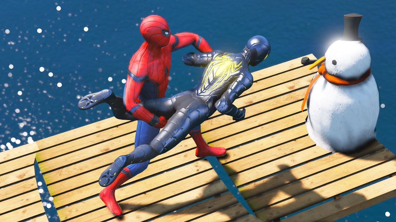 SPIDERMAN Water Ragdolls | GTA 5 Jumps/Fails #105 (Euphoria Physics)