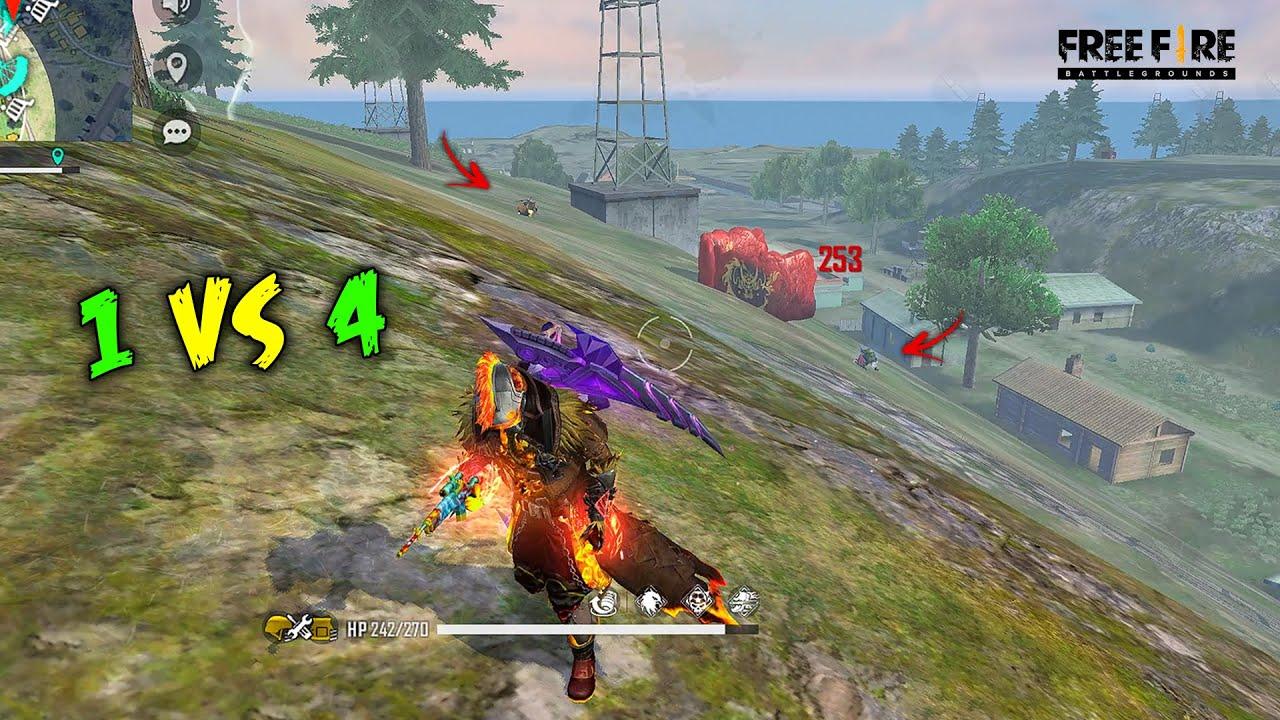 Best 1 vs 4 Scythe 19 Kill OverPower Gameplay - Garena Free Fire