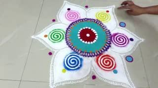 how to draw beautiful rangoli design - created by rangoli design