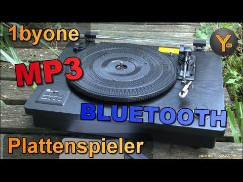 Review: 1byone Plattenspieler mit MP3-Export / Bluetooth / USB / 4W Lautsprecher / Riemengetrieben