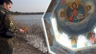 east of Chernobyl and the Pripyat river: Pripyat river banks & an intact (!) Church