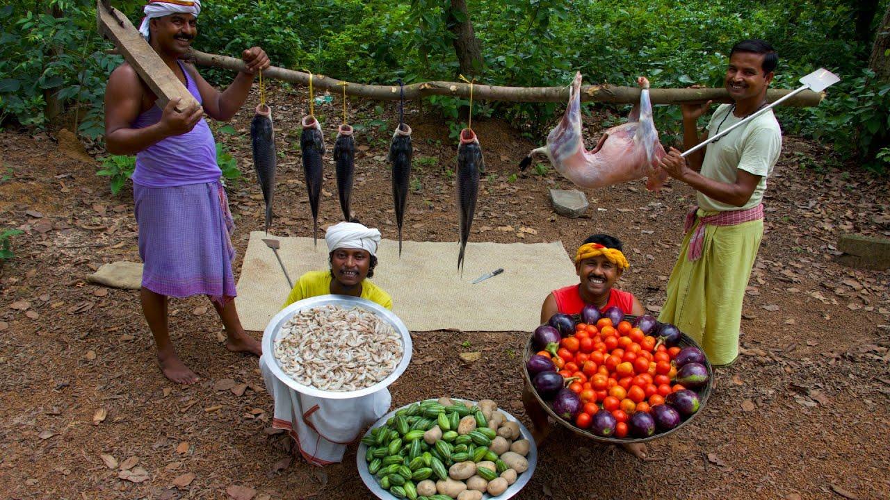 Mutton Curry, Potol Chingri & Katla Fish Kalia cooking for tribal village people | villfood Kitchen