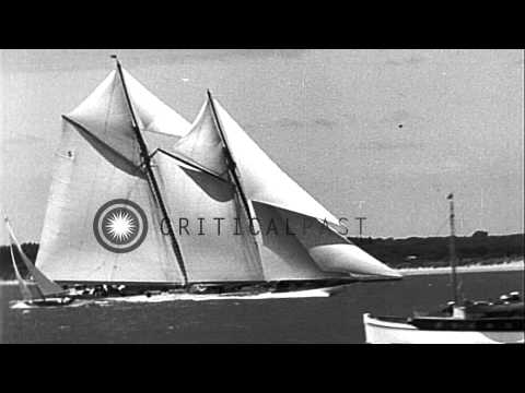 Britain's ruler King George aboard his yacht 'Britannia' during the Royal Yacht S...HD Stock Footage
