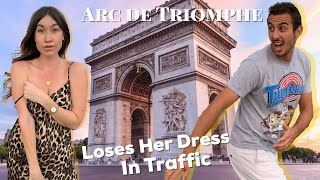 Girlfriend Almost Loses Dress Dodging Traffic to the Arc de Triomphe **Must See**