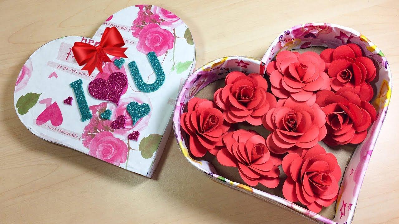 Cách làm hộp trái tim, cách làm hoa hồng giấy.