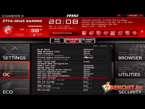 Видеобзор BIOS материнской платы MSI Z77A-GD65 Gaming