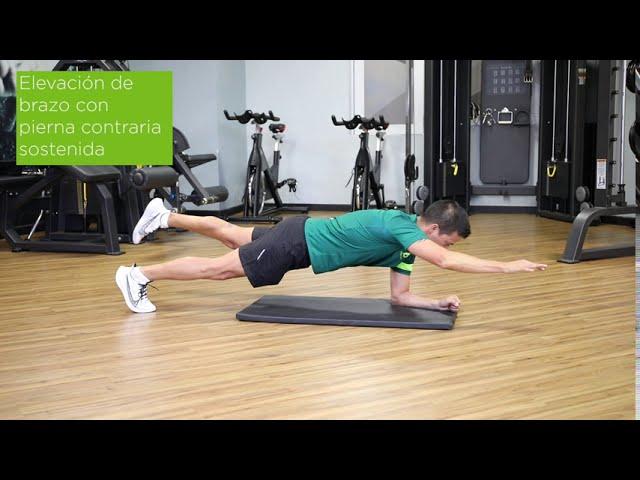 Plancha elevación de brazo con pierna contraria sostenida