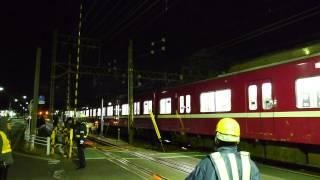 京急 追浜京急田浦間土砂災害による脱線車両1700形1701編成 J-TRECより返却され上り線を逆走