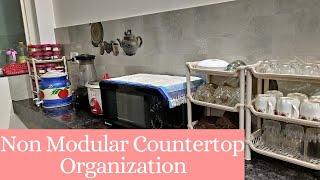 Non Modular kitchen countertop Organization ideas  Countertop Organization Ideas In Hindi Kitchen