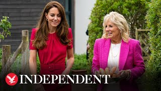 Kate Middleton and Dr Jill Biden meet pupils at a school in Cornwall