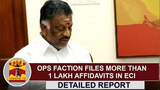 DETAILED REPORT | OPS Faction files More than 1 Lakh Affidavits in ECI | Thanthi TV