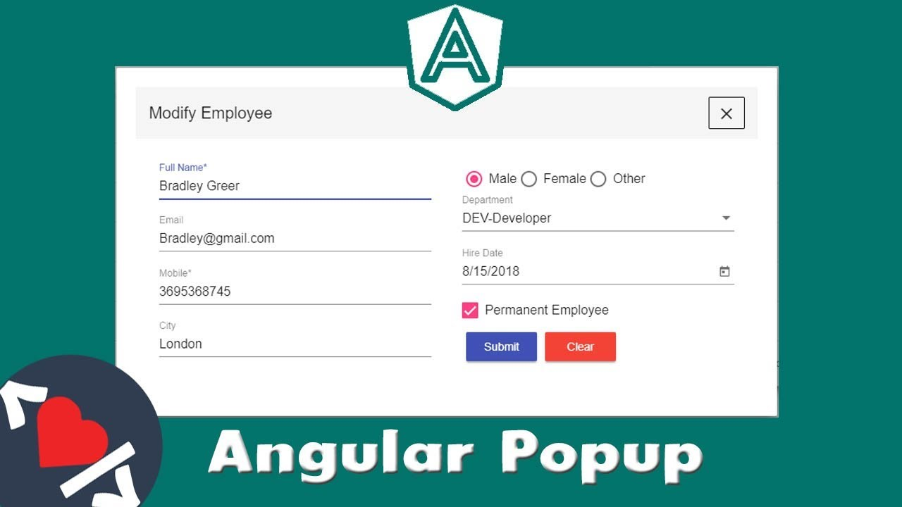 Angular Material Popup Dialog & Model