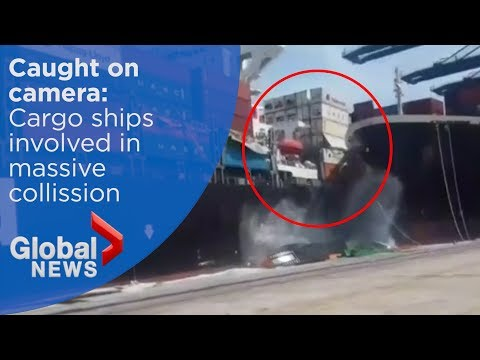 Caught on camera: Massive cargo ships collide in Pakistan, containers sent flying