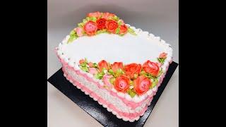 Оформление торта на юбилей кремовый торт белковый крем цветы из белкового крема
