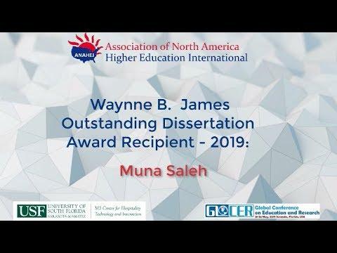 Waynne B. James Outstanding Dissertation Award: Muna Saleh