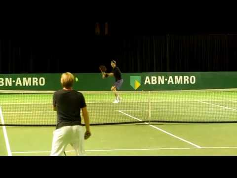Andrey Rublev hitting some practice balls in Rotterdam