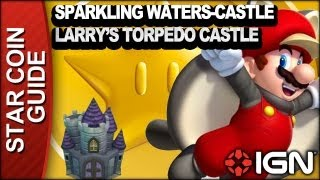 New Super Mario Bros. U 3 Star Coin Walkthrough - Sparkling Waters-Castle: Larry