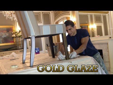 Denver Artist Applies Gold Glaze Accents to Contemporary Furniture Chair Legs