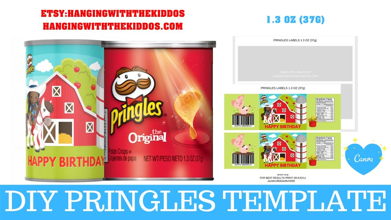 Party Templates DIGITAL OR PRINTED Party Treats Custom Canned Chips Labels Party Favors Personalized Pringles Can Labels