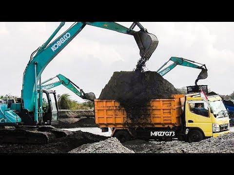 Cool!! Kobelco SK200-10 Excavator Overloading Dump Trucks