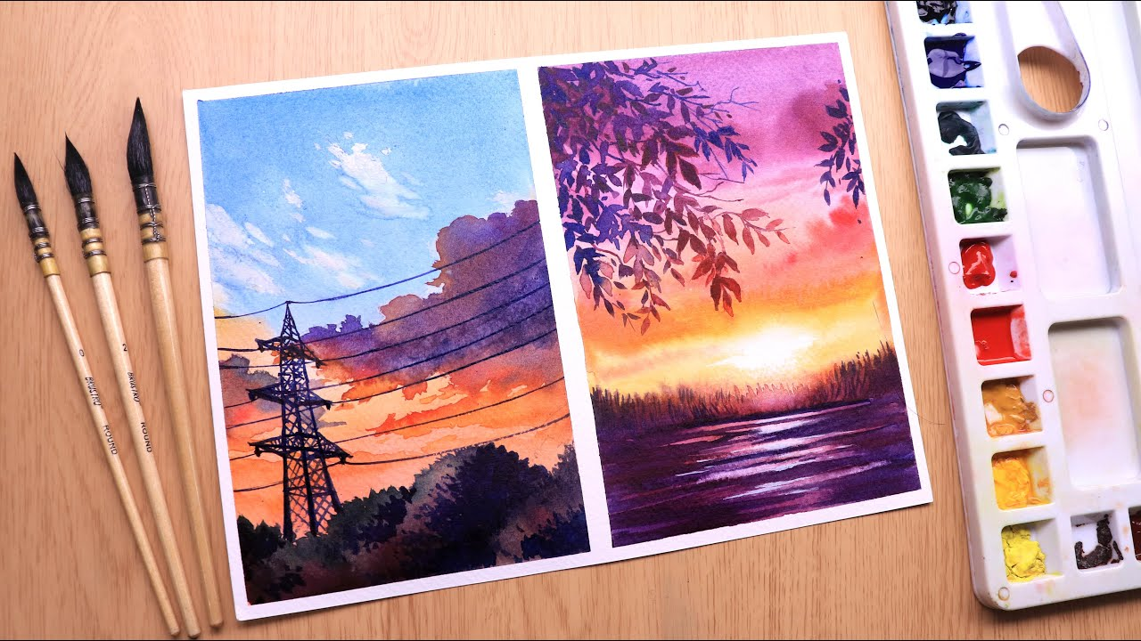 Watercolor painting for beginners sunset and cloudy evening landscape easy