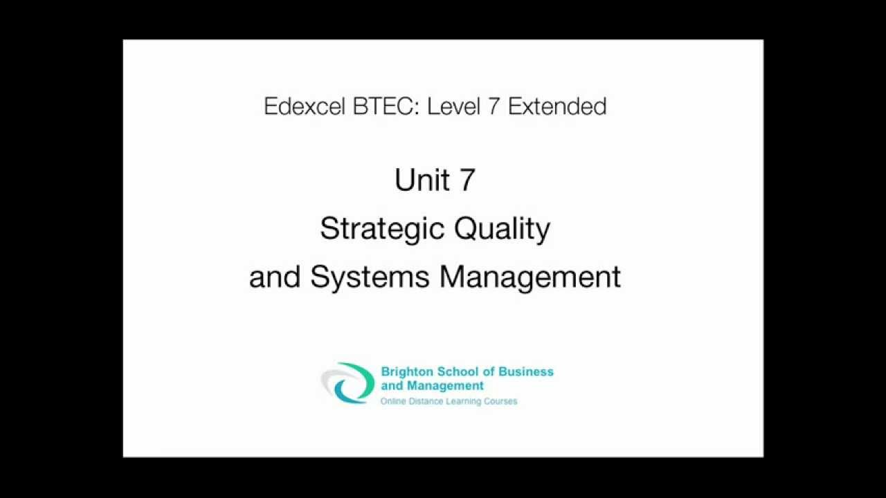 Strategic quality and systems management