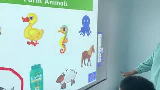 Autism Speech Therapy Seremban:  Classifying Skills using the interactive projector at Louis Center.