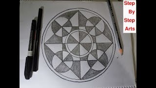 How To Drawing Circles geometrical shapes step by step arts on line paper  🍁🍁  Very Easy Arts