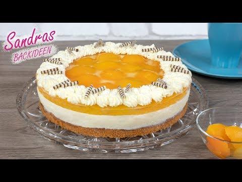 Aprikosen Quark Torte - Leichter Tortenboden Mit Mandeln / Ohne Gelatine / Rezept 26 Cm Springform