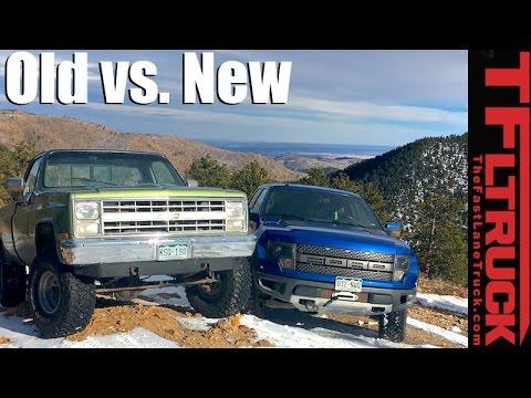old vs new 2014 ford raptor vs 1985 chevy k10 vs gold mine hill