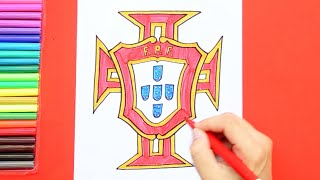 How to draw and color Portugal National Football Team Logo