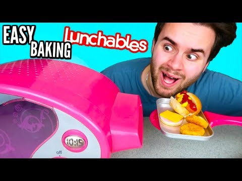COOKING LUNCHABLES IN AN EASY BAKE OVEN! - Trying Lunchables Taste Test DIY!