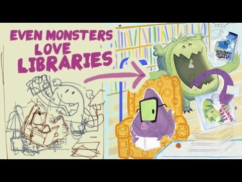 Even Monsters Love Libraries poster -- making of