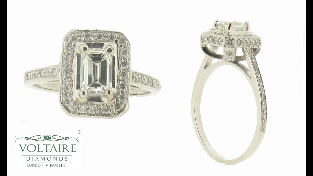 Emerald Cut Ring with Diamond Basket Detail and Pave Set Halo ER