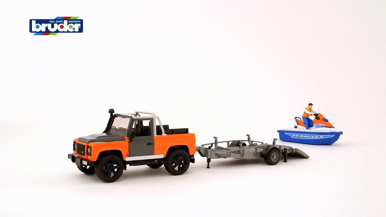 bruder toys land rover pick up 02591 jetski with. Black Bedroom Furniture Sets. Home Design Ideas
