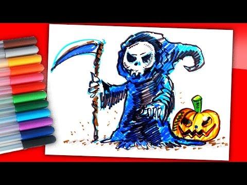 Рисуем Смерть с косой на Хэллоуин фломастерами / Рисунки на Хэллоуин