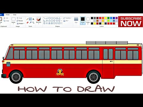 Drawing Bus on computer using Ms Paint in easy steps | 90s MSRTC Bus drawing | How to draw ST Bus.