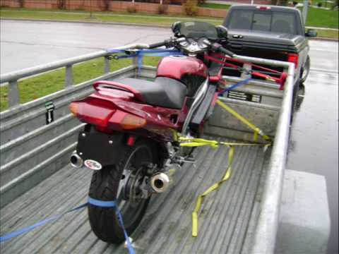 How to load a motorcycle onto a Uhaul Trailer - YouTube