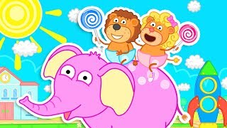 Lion Family Pink Elephant on a magical Playground Cartoon for Kids