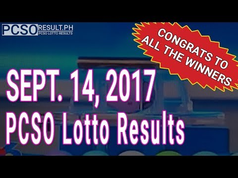 Pcso Lotto Results Today September 14, 2017 (6/49, 6/42, 6D