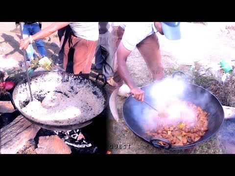 Jungle Kitchen & food  of Nepal ( cooking gravy chicken curry and Poolau / Dry Rice  )