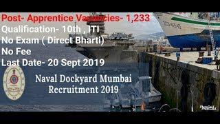 Naval Dockyard Mumbai Recruitment 2019 |1,223 Post of Apprentice