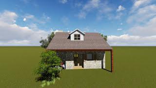 ARTVİN 50 m2 Taş ev Modellemesi