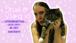 STUDIO VLOG 10 | Storyboarding, Cute Cats and Pet Portrait Commission!