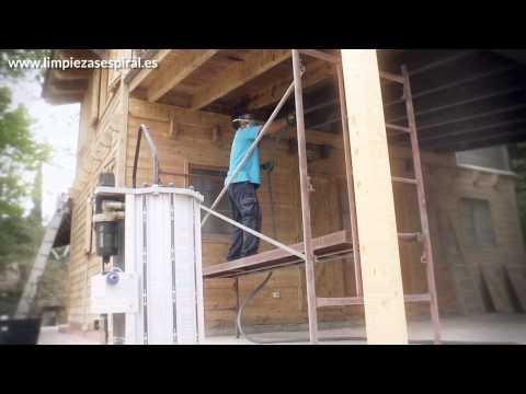 Limpieza de madera con sistema eco-arenado de IBIX