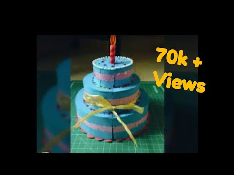 how to make paper cake for explosion box ||Tutorial open cake explosion box ||surprise inside