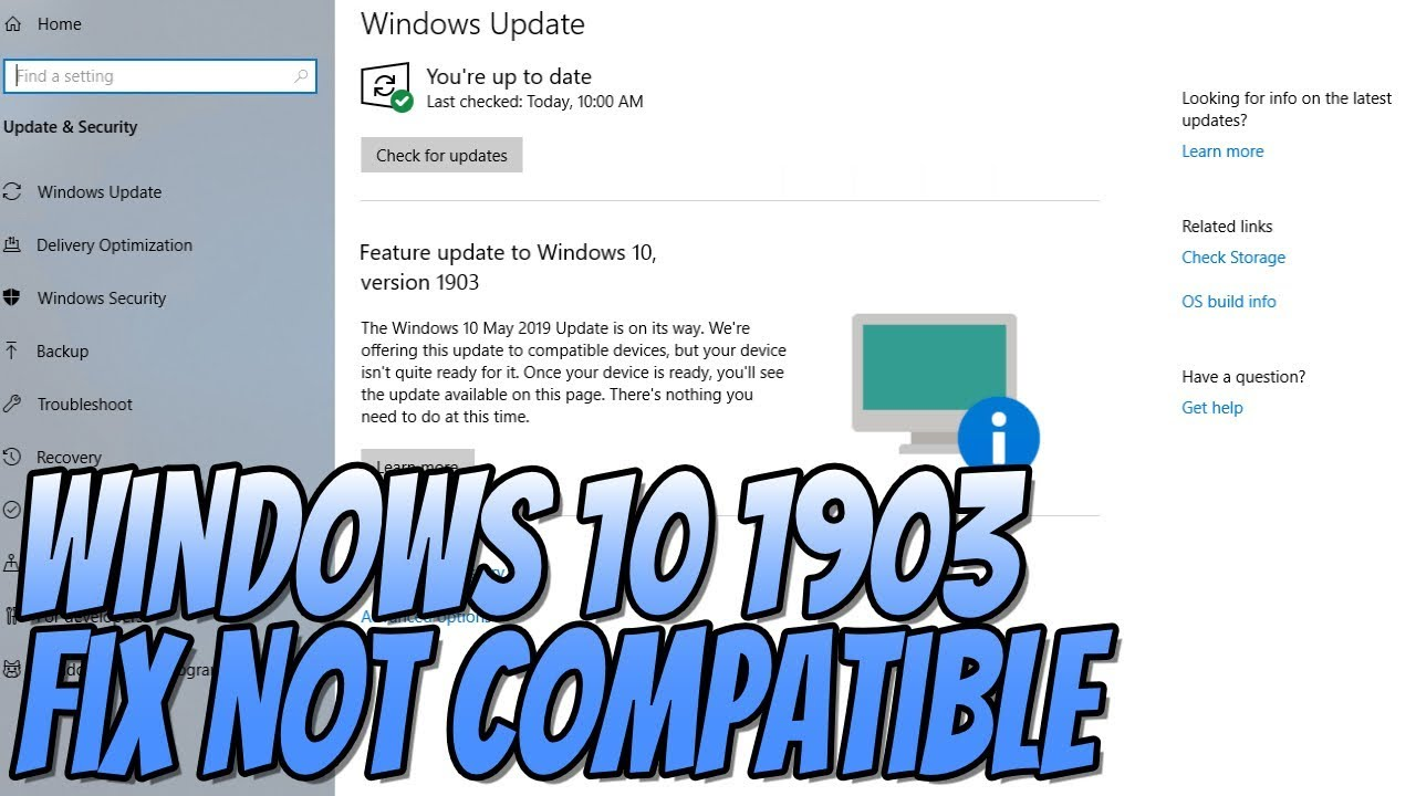 FIX Windows 10 Feature Update May 2019 1903 Not Compatible Tutorial