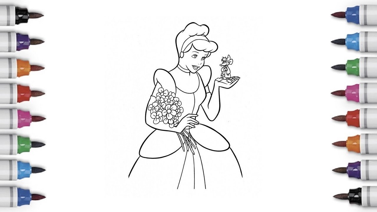 Cinderella with Mice Coloring Pages - YouTube