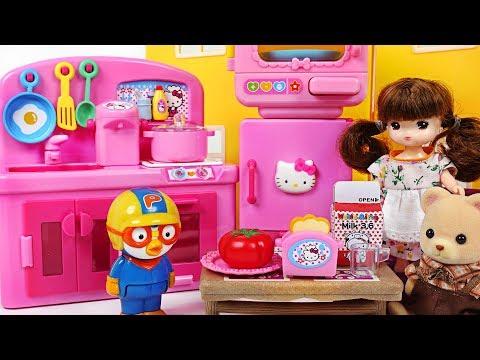 Let's have breakfast Pororo! Hello Kitty mini Kitchen Cooking toys play - PinkyPopTOY